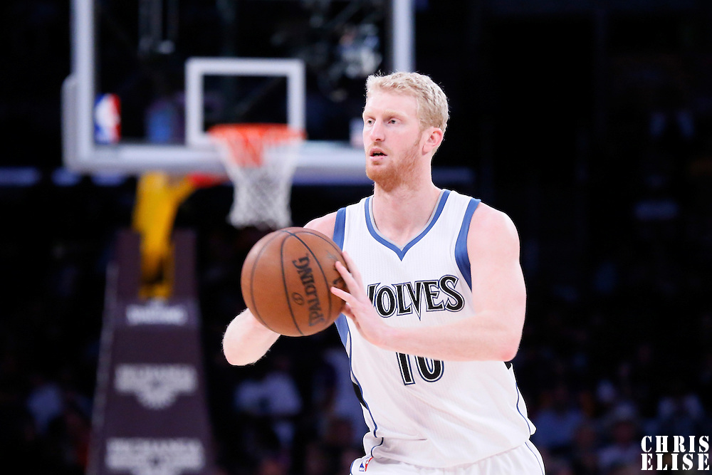 10 April 2014: Minnesota Timberwolves forward Chase Budinger (10) passes the ball during the Los Angeles Lakers 106-98 victory over the Minnesota Timberwolves, at the Staples Center, Los Angeles, California, USA.