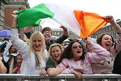Yes campaigners celebrate in Dublin Castle as Ireland has voted to repeal the 8th Amendment of the Irish Constitution which prohibits abortions unless a mother's life is in danger.