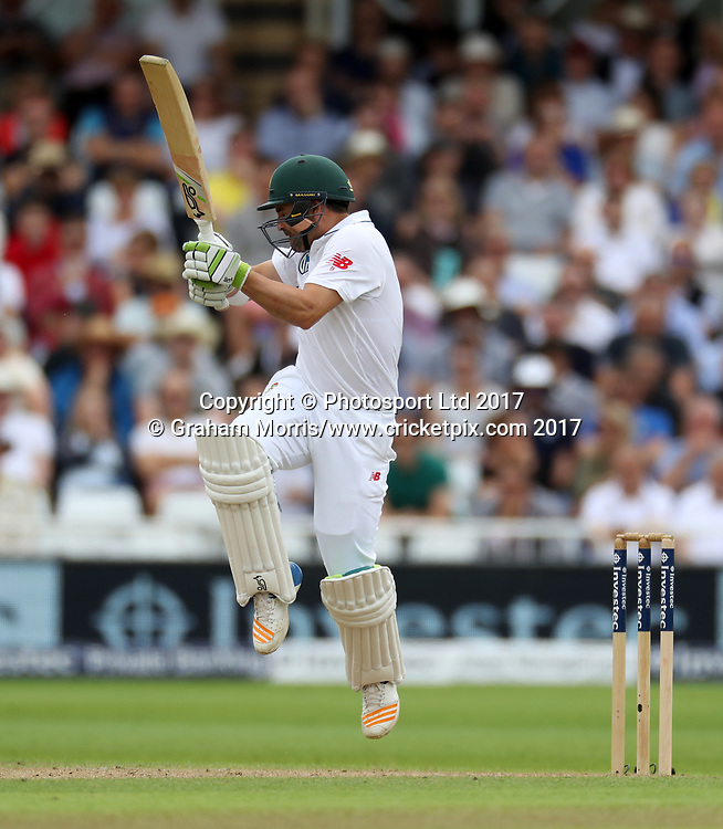Dean Elgar fends off a Ben Stokes bouncer and is caught during the 2nd Investec Test Match between England and South Africa at Trent Bridge, Nottingham. Photo: Graham Morris/www.cricketpix.com / www.photosport.nz