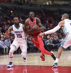 November 17, 2017 - Chicago, IL, USA - The Chicago Bulls' Jerian Grant (2) drives to the basket as the Charlotte Hornets' Kemba Walker (15) defends in the first quarter at the United Center in Chicago on Friday, Nov. 17, 2017. (Credit Image: © John J. Kim/TNS via ZUMA Wire)