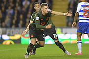 Everton's midfielder Ross Barkley and Everton's defender Ramiro Funes Mori celebrate Everton's first goal during the Capital One Cup match between Reading and Everton at the Madejski Stadium, Reading, England on 22 September 2015. Photo by Mark Davies.