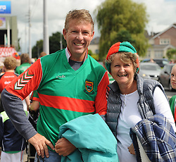 Mayo supporters home from Hawaii Patrick and Kathleen Geraghty originally from Ballintubber on their way to the Gaelic grounds.<br />