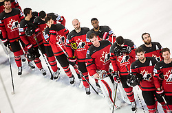 Calvin Pickard of Canada and others players of Canada listening to the National Anthem during the 2017 IIHF Men's World Championship group B Ice hockey match between National Teams of Canada and Finland, on May 16, 2017 in AccorHotels Arena in Paris, France. Photo by Vid Ponikvar / Sportida
