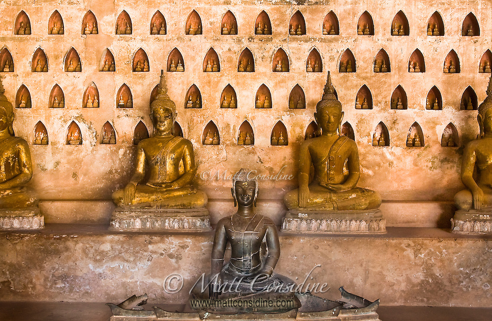 The walls of this lovely wat are lined with thousands of Buddha images of varying sizes and ages.<br /> (Photo by Matt Considine - Images of Asia Collection)