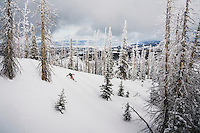 MacKenzie Ryan drops into winter from the Markagunt Plateau, Brian Head, Utah.