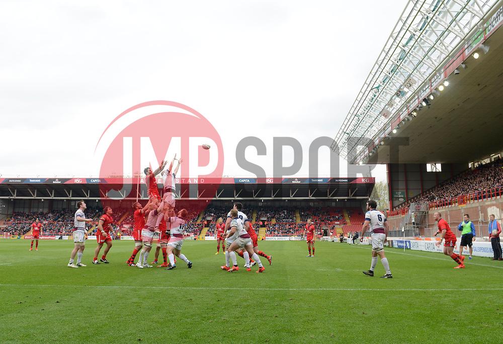 Line Out  - Photo mandatory by-line: Joe Meredith/JMP - Mobile: 07966 386802 - 02/05/2015 - SPORT - Rugby - Bristol - Ashton Gate - Bristol Rugby v Rotherham - Greene King IPA Championship