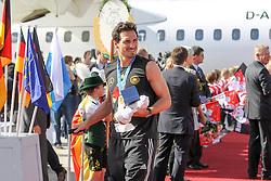 15.07.2014, Flughafen, München, GER, FIFA WM, Empfang der Weltmeister in Deutschland, Finale, im Bild Mats Hummels #5 (Deutschland) kommt aus der Maschine // during Celebration of Team Germany for Champion of the FIFA Worldcup Brazil 2014 at the Flughafen in München, Germany on 2014/07/15. EXPA Pictures © 2014, PhotoCredit: EXPA/ Eibner-Pressefoto/ Kolbert<br /> <br /> *****ATTENTION - OUT of GER*****