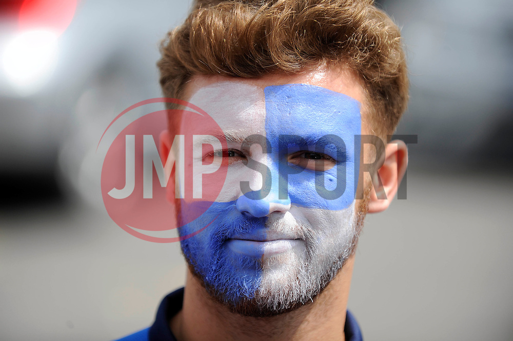 Bristol Rovers' Matt Taylor has his face painted in Bristol Rover's quarters - Photo mandatory by-line: Dougie Allward/JMP - Mobile: 07966 386802 27/07/2014 - SPORT - FOOTBALL - Bristol - Bristol Rovers - - Memorial Stadium - Fun Day