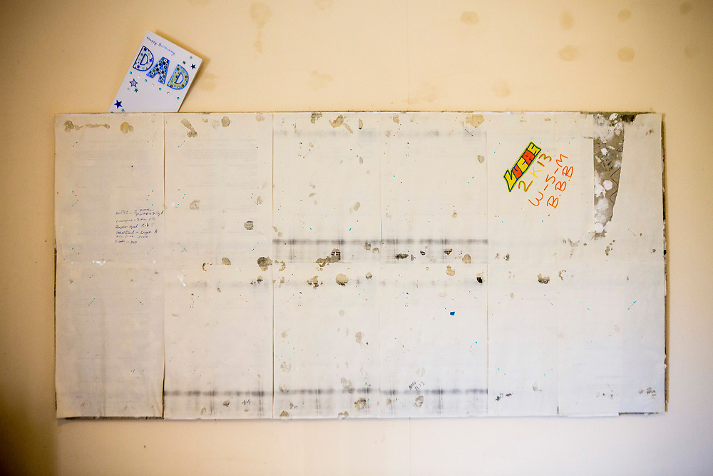 A prisoners cell notice board remains empty. Toothpaste is used to stick pictures up. HMP/YOI Portland, Dorset, United Kingdom.