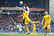 Preston North End Defender Greg Cunningham wins a header during the Sky Bet Championship match between Blackburn Rovers and Preston North End at Ewood Park, Blackburn, England on 2 April 2016. Photo by Pete Burns.