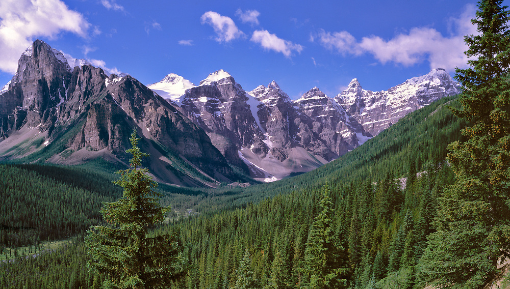 The Valley of the Ten Peaks offers a panorama of majestic mountains at Banff NP, Alberta, Canada. ©Ric Ergenbright
