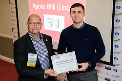 BNI Apollo (Lincoln)'s chapter president Simon Meadows (Sterling Business Coaching), left, presents Jake Matthews (Just Vehicle Solutions) with a notable networker certificate.  Jake was awarded notable networker for recognition of becoming the first member in the chapter to pass more than &pound;10,000 worth of business since the chapter launched.  BNI Apollo meets at Lincoln City Football Club on Thursday mornings - 9.15am - 11am.<br /> <br /> Picture: Chris Vaughan Photography<br /> Date: January 11, 2018