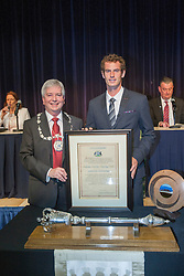 Andy with Provost of Stirling Mike Robbins. Andy Murray received the Freedom of Stirling from Stirling Council, who have recognised the Wimbledon champion's sporting achievements at a special council meeting at Dunblane High School.<br /> &copy; Michael Schofield.