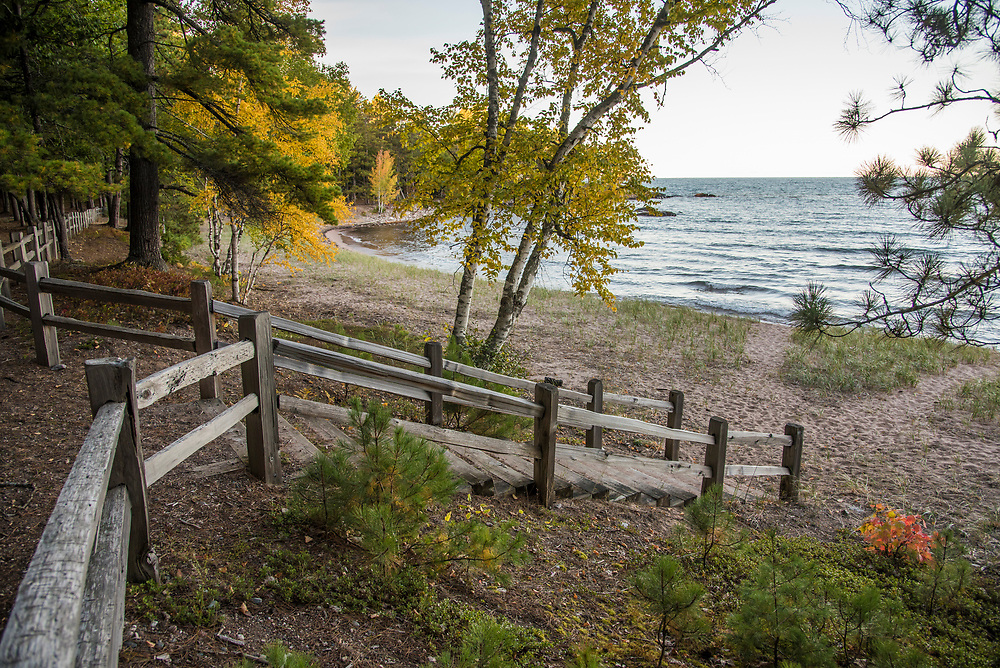 Fall color at Wetmore Landing a Lake Superior beach near Marquette, Michigan.