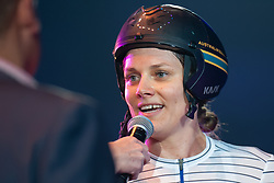 February 7, 2019 - Melbourne, VIC, U.S. - MELBOURNE, AUSTRALIA - FEBRUARY 07: Ashlee Ankudinoff of Australia speaks to media after winning her race at The Six Day Cycling Series on February 07, 2019, at Melbourne Arena in Melbourne, Australia. (Photo by Speed Media/Icon Sportswire) (Credit Image: © Speed Media/Icon SMI via ZUMA Press)