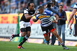 Odwa Ndungane of the Sharks attempts to tackle Leolin Zas of Western Province during the Currie Cup Premier Division match between the DHL Western Province and the Sharks held at the DHL Newlands Rugby Stadium in Cape Town, South Africa on the 3rd September  2016<br /> <br /> Photo by: Shaun Roy / RealTime Images