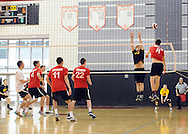 SOUDERTON, PA - MAY 31:  Central Bucks West's Fran Poeske #10 defends against Parkland's Andrew Hillman #8 during the PIAA Class AAA boys volleyball quarterfinal match May 31, 2014 at Souderton High School in Souderton, Pennsylvania. (Photo by William Thomas Cain/Cain Images)