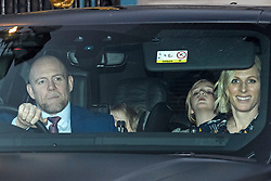 © Licensed to London News Pictures. 18/12/2019. London, UK.MIKE TINDALL, LENA TINDAL, MIA TINDALL and ZARA PHILIPS. Members of the Royal Family seen leaving Buckingham Palace in West London after attending the Queen's annual Christmas lunch. Photo credit: Ben Cawthra/LNP