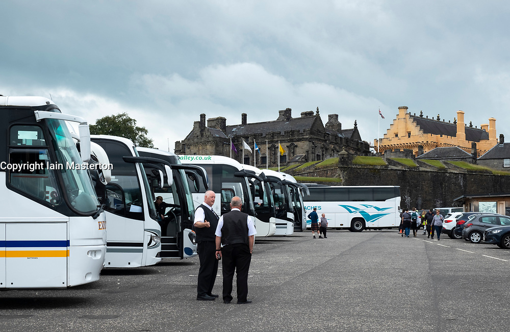 Row tourist coaches in car park at  Stirling Castle in Scotland, UK