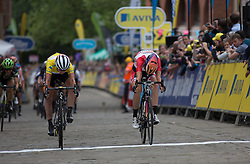 Marianne Vos (NED) of Rabo-Liv Cycling Team (left) pips Amalie Dideriksen (DEN) of Boels-Dolmans Cycling Team (right) for the fifth place at the Aviva Women's Tour 2016 - Stage 3. A 109.6 km road race from Ashbourne to Chesterfield, UK on June 17th 2016.