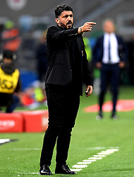 MILAN, May 7, 2019  AC Milan's head coach Gennaro Gattuso reacts during a Serie A soccer match between AC Milan and Bologna in Milan, Italy, May 6, 2019. AC Milan won 2-1. (Credit Image: © Daniele Mascolo/Xinhua via ZUMA Wire)