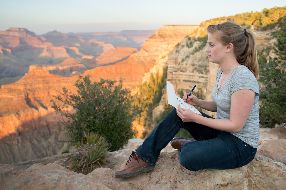 Young Woman Sketching Grand Canyon