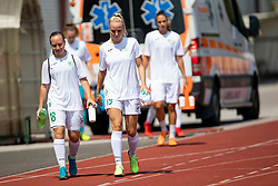 Laura Skvorc and Neza Bizjak of ZNK Olimpija Ljubljana during football match between FC Minsk and ZNK Olimpija Ljubljana in 2nd Qualifying Group of UEFA Women's Champions League 2018/19, on August 7, 2018 in Stadion ZAK, Ljubljana, Slovenia. Photo by Urban Urbanc / Sportida