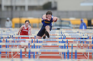 Stewart Howorth runs hurdles during a track meet at Oxford High School in Oxford, Miss. on Saturday, March 13, 2010.