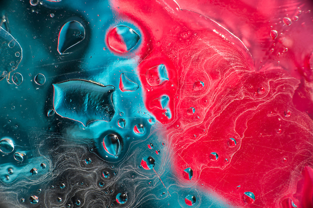 Colorful liquid abstract in red and blue, fine art micro photography shot wet, vibrant, and vivid.