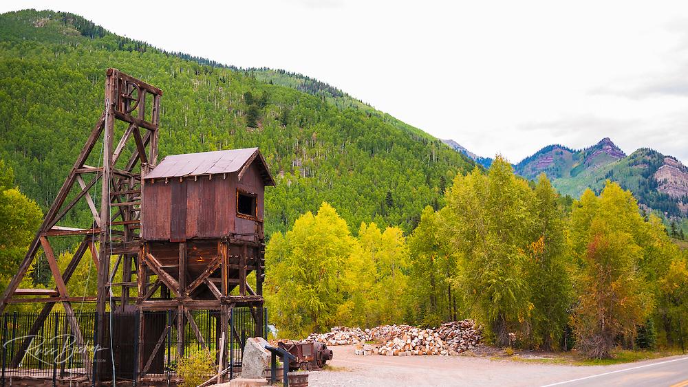 Mine shaft at the Rico silver mine, Rico, Colorado USA