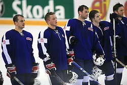 Jurij Golicic of Slovenia, Damjan Dervaric of Slovenia, Tomaz Razingar of Slovenia, Rok Pajic of Slovenia and Dejan Varl of Slovenia dissapointed after ice-hockey match Slovenia vs Latvia at Preliminary Round (group B) of IIHF WC 2008 in Halifax, on May 06, 2008 in Metro Center, Halifax, Nova Scotia, Canada. Latvia won 3:0. (Photo by Vid Ponikvar / Sportal Images)Slovenia played in old replika jerseys from the year 1966, when Yugoslavia hosted the World Championship in Ljubljana.