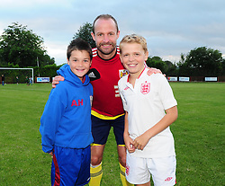 Young fans have their photograph taken with Bristol City's Louis Carey - Photo mandatory by-line: Dougie Allward/JMP - Tel: Mobile: 07966 386802 03/07/2013 - SPORT - FOOTBALL - Bristol -  Ashton and Backwell United V Bristol City - Pre Season Friendly