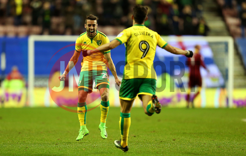 Nelson Oliveira of Norwich City celebrates after scoring his sides first goal with team mate Ivo Pinto  - Mandatory by-line: Matt McNulty/JMP - 07/02/2017 - FOOTBALL - DW Stadium - Wigan, England - Wigan Athletic v Norwich City - Sky Bet Championship