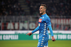 January 26, 2019 - Milan, Milan, Italy - Arkadiusz Milik #99 of SSC Napoli during the serie A match between AC Milan and SSC Napoli at Stadio Giuseppe Meazza on January 26, 2018 in Milan, Italy. (Credit Image: © Giuseppe Cottini/NurPhoto via ZUMA Press)