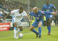 Photo: Aidan Ellis.<br /> Rochdale v Wycombe Wanderers. Coca Cola League 2. 16/09/2006.<br /> Wycombe's Kevin Betsy takes on Rochdale's Ernie Cooksey