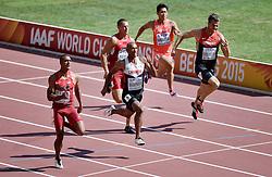 28-08-2015 CHN: IAAF World Championships Athletics day 7, Beijing<br /> 100 m decathlon, Akihiko Nakamura JAP, Rico Freimuth GER, Trey Hardee USA, Damian Warner CAN, Ashton Eaton USA<br /> Photo by Ronald Hoogendoorn / Sportida