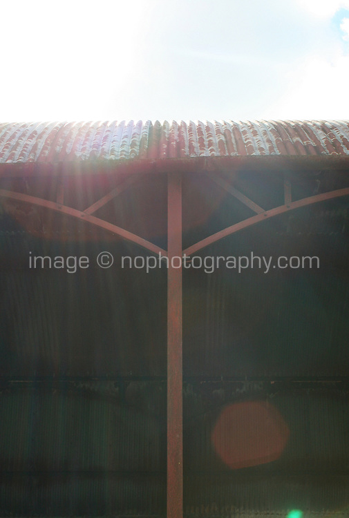 Tin roof on farmyard buildings in County Westmeath Ireland