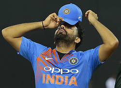 March 8, 2018 - Colombo, Sri Lanka - Indian cricket captain Rohit Sharma reacts during the post match presentation of the 2nd T20 cricket match of NIDAHAS Trophy between India  and Bangladesh at R Premadasa cricket ground, Colombo, Sri Lanka on Thursday 8 March 2018. (Credit Image: © Tharaka Basnayaka/NurPhoto via ZUMA Press)