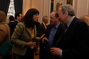 Gail Rebuck, Jim Naughtie and Anthony Howard. 80th birthday celebration for Tony Benn given by his publisher, Hutchinson. Foreign Press Association. 5 April 2005. ONE TIME USE ONLY - DO NOT ARCHIVE  © Copyright Photograph by Dafydd Jones 66 Stockwell Park Rd. London SW9 0DA Tel 020 7733 0108 www.dafjones.com