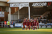 Bradford City players celebrate the first goal 1-0 Bradford during the EFL Sky Bet League 1 match between Peterborough United and Bradford City at The Abax Stadium, Peterborough, England on 17 November 2018.
