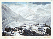 The French Reserve Army under Napoleon Bonaparte crossing theAlps by the St Bernard Pass. Spring 1800. Lithograph.
