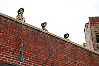 New York, New York City. Skeletons on the roof of the Slaughtered Lamb.