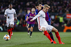 January 30, 2019 - Barcelona, Spain - Sevilla FC defender Simon Kjaer (4) and FC Barcelona forward Luis Suarez (9) during the match FC Barcelona v Sevilla CF, for the round of 8, second leg of the Copa del Rey played at Camp Nou  on 30th January 2019 in Barcelona, Spain. (Credit Image: © Mikel Trigueros/NurPhoto via ZUMA Press)