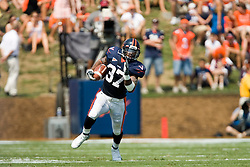 Virginia running back Cedric Peerman (37) rushed for 137 yards against Duke.  The Virginia Cavaliers defeated the Duke Blue Devils 23-14 at Scott Stadium in Charlottesville, VA on September 8, 2007  With the loss, Duke extended their longest-in-the-nation losing streak to 22 games.