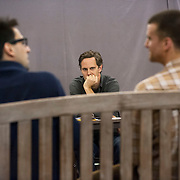 "November 20, 2012 - New York, NY : Director Davis McCallum, center, watches as actors Ryan Shams, left, and Armando Riesco perform a scene during an early rehearsal for ""Water by the Spoonful"" at Second Stage Theatre on West 43rd Street in Manhattan on Tuesday night. The play, by Quiara Alegria Hudes, won the 2012 Pulitzer Prize for drama. CREDIT: Karsten Moran for The New York Times"
