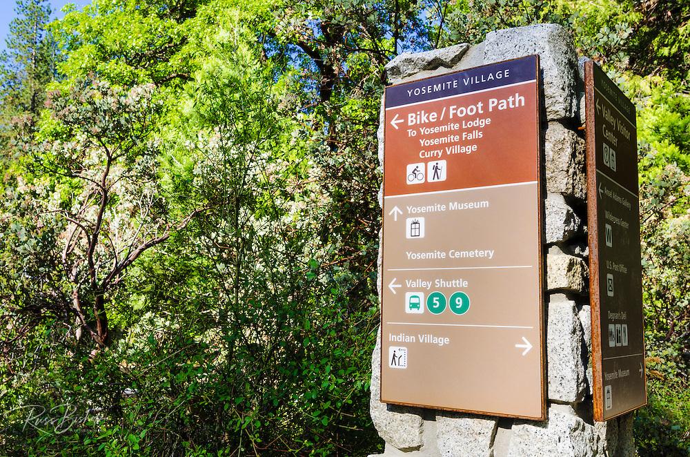 Sign in Yosemite Village, Yosemite National Park, California USA