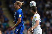Gillingham FC forward Tom Eaves (9) and Coventry City defender Dominic Hyam (15) heads the ball  during the EFL Sky Bet League 1 match between Gillingham and Coventry City at the MEMS Priestfield Stadium, Gillingham, England on 25 August 2018.