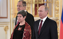 October 3, 2017 - Moscow, Russia - October 3, 2017. - Russia, Moscow. - Russian President Vladimir Putin and Ambassador Extraordinary and Plenipotentiary of the United Mexican States to Russia Norma Bertha Pensado Moreno at a ceremony to present letters of credence in the Alexander Hall of the Grand Kremlin Palace. Left: Russian Foreign Minister Sergey Lavrov. (Credit Image: © Russian Look via ZUMA Wire)