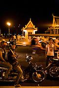 Night along the river on Sisowath Quay. Phnom Penh, Cambodia