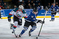 KELOWNA, CANADA - MARCH 7: James Hilsendager #2 of the Kelowna Rockets back checks Matthew Phillips #11 of the Victoria Royals as he moves the puck up the ice during first period on March 7, 2017 at Prospera Place in Kelowna, British Columbia, Canada.  (Photo by Marissa Baecker/Shoot the Breeze)  *** Local Caption ***